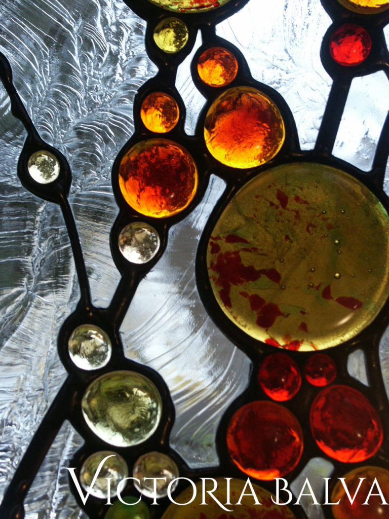 Contemporary abstract stained and leaded glass design with fused glass and clear textured Duncan glass glue chip