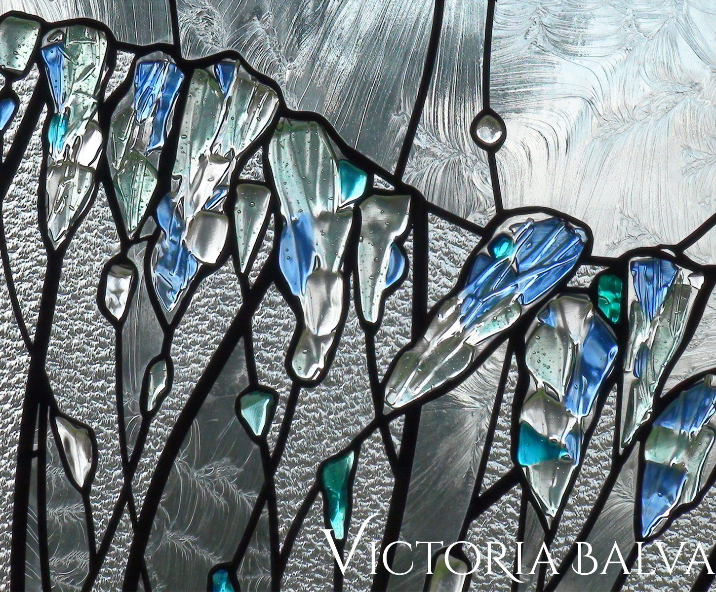 Fused stained leaded glass door panel for an entrance of a large residence in London