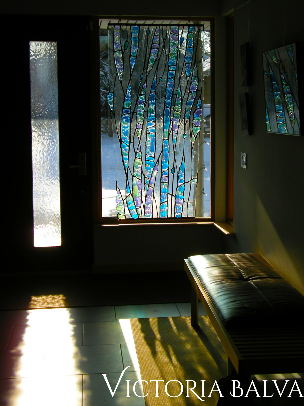 Contemporary fused and leaded glass sculpture for the foyer of a private residence