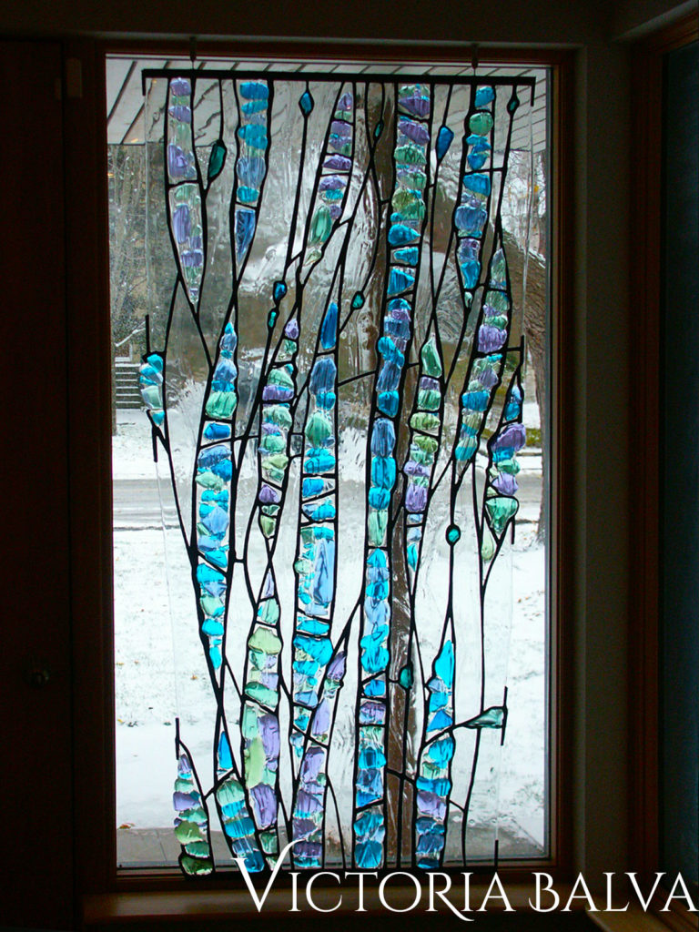 Modern abstract window with fused glass elements