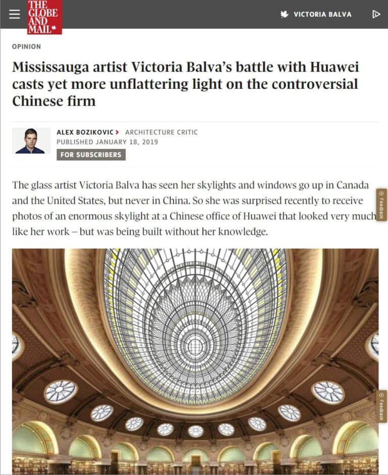 Copyright infringement dispute regarding stained and leaded glass skylight for Huawei headquarters in Shenzhen - Asian trash