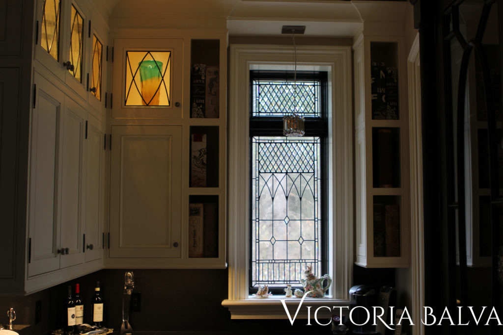 Traditional beveled and leaded glass window
