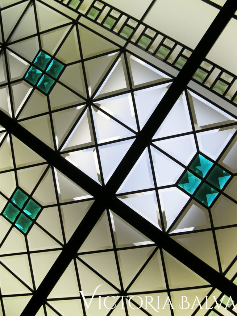 Leaded glass skylight with custom bevelled glass in classic simple style