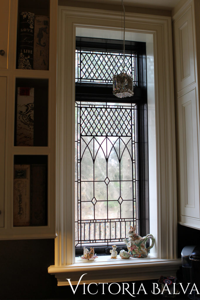 Classic stained glass windows with bevels and antique textured glass