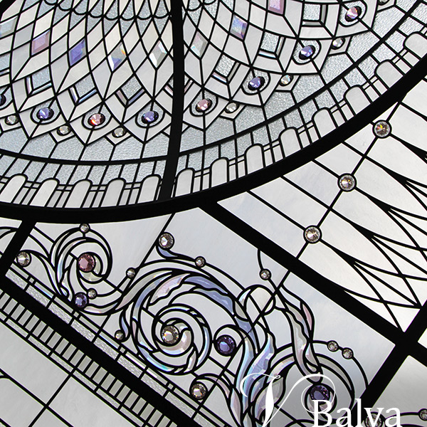 custom beveled stained and leaded glass dome