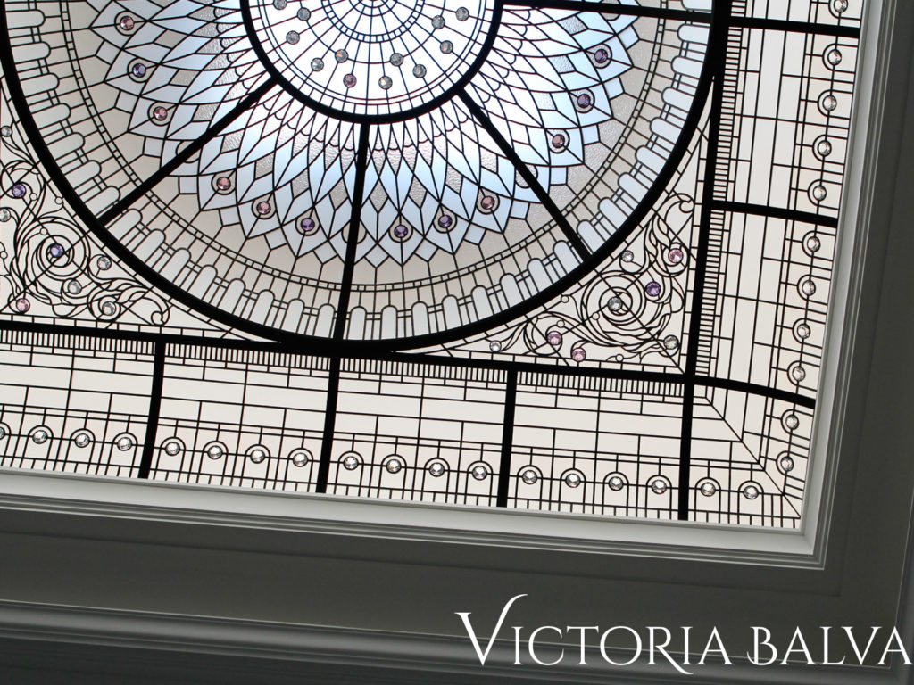 Stained glass dome skylight for the entrance foyer of a custom built residence