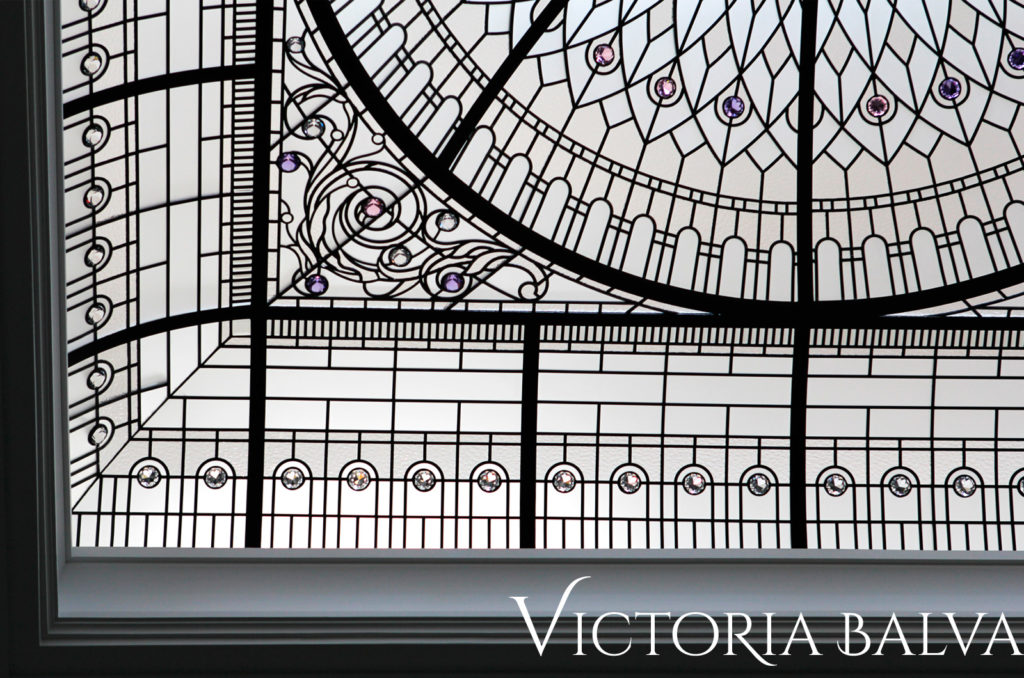 Custom designed leaded glass dome ceiling with voulted borders and domed lay light center