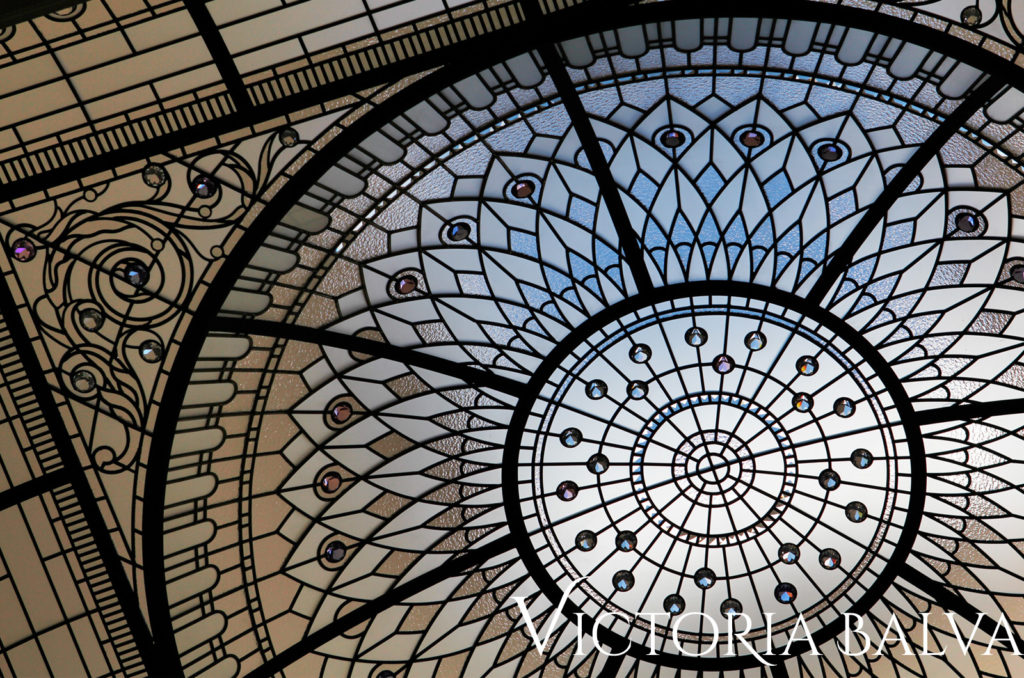 Leaded glass vaulted and domed ceiling skylight for the entrance vestibule of a luxury real estate inspired by the New York Plaza Hotel