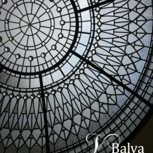 residential stained glass dome for a double-height entrance foyer of a custom built residence in Vaughn