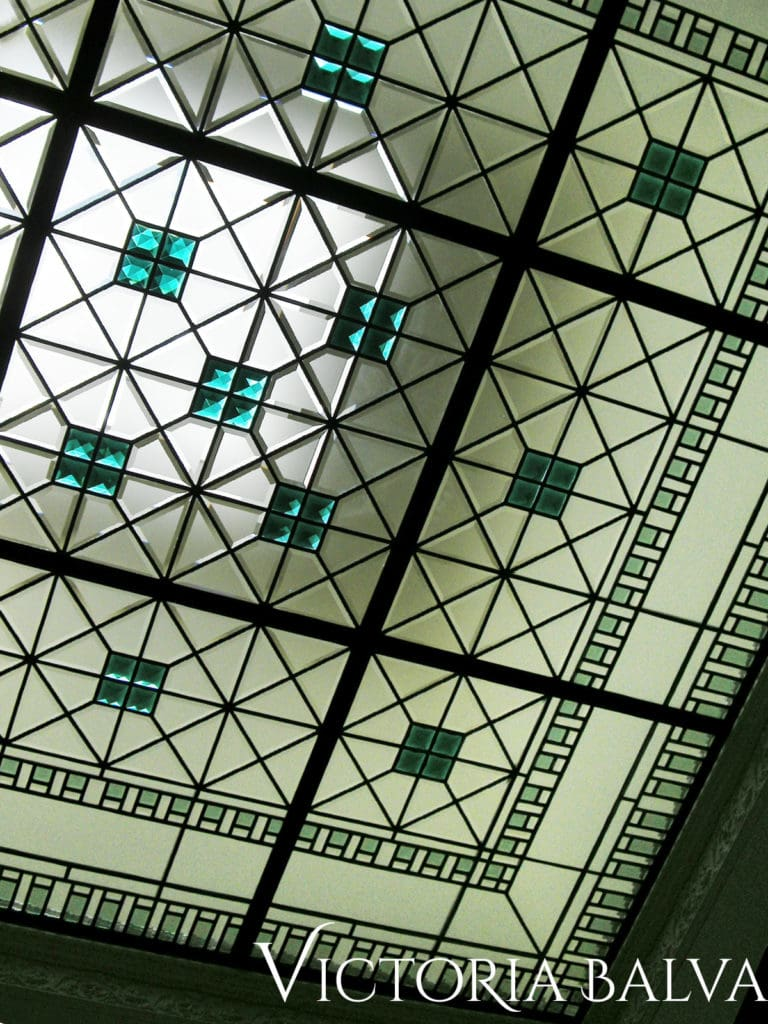 Architectural art glass ceiling leaded glass skylight lay light with coloured bevelled glass and stained glass jewels