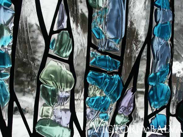 Modern abstact stained leaded fused glass window by glass artist Victoria Balva