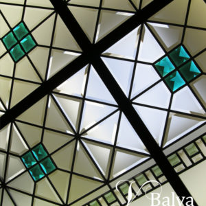 Contemporary master bathroom stained and leaded glass ceiling with emerald accent jewels