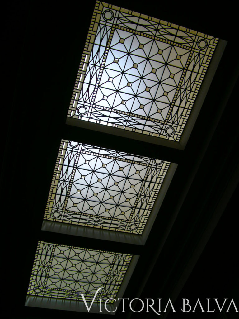 3 simple geometric design stained and leaded glass skylight ceiling for custom built designed by Peter Higgins in Hogg's Hollow