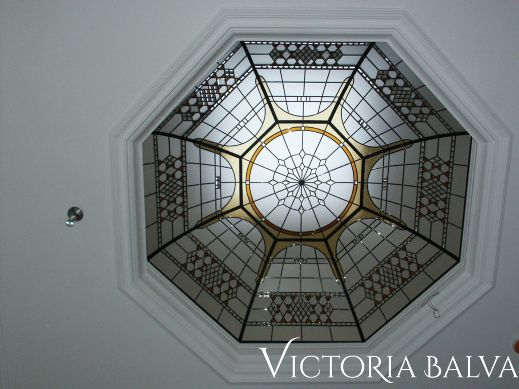 Traditional octagon stained and leaded glass dome with diamond bevelled glass