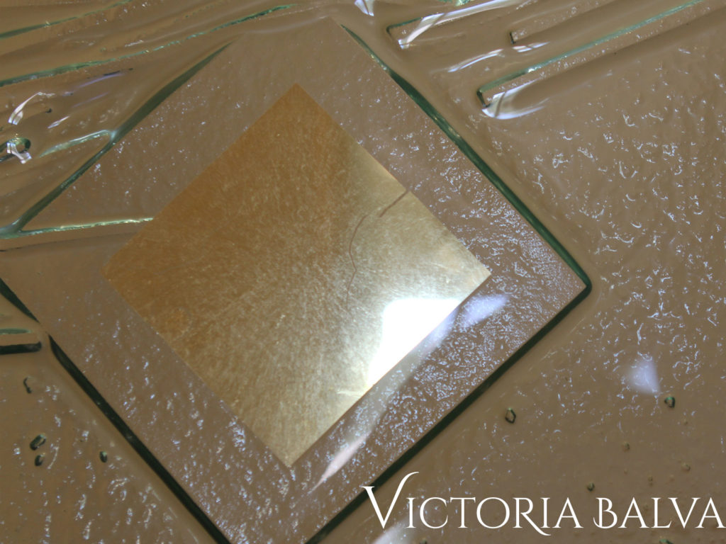 Gold Leaf gilded textured kiln formed art glass detail