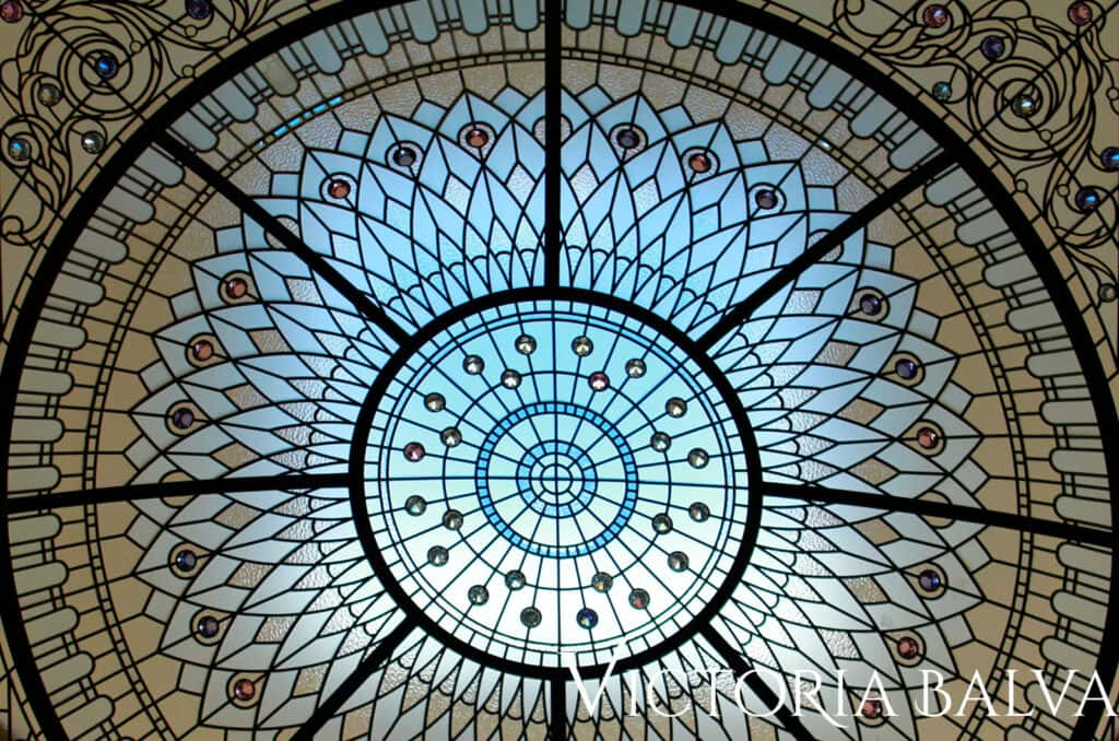 Leaded glass dome skylight with clear textured art glass and crystal stained glass jewels for inspired by the Hotel Plaza in New York atrium ceiling