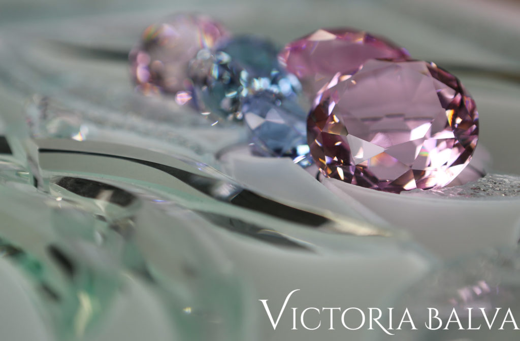 Fantastic custom bevelled glass with pink and lilac crystal jewels