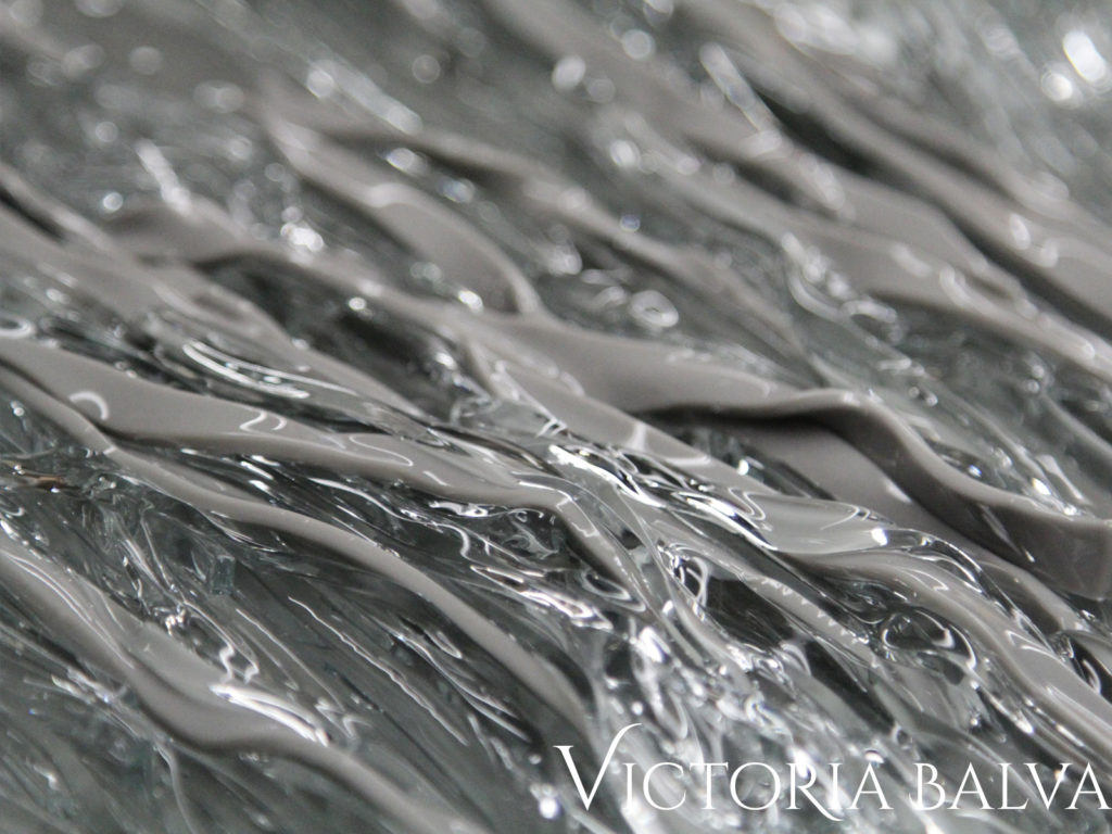 Kiln-cast: Fused opal gray & clear glass 1