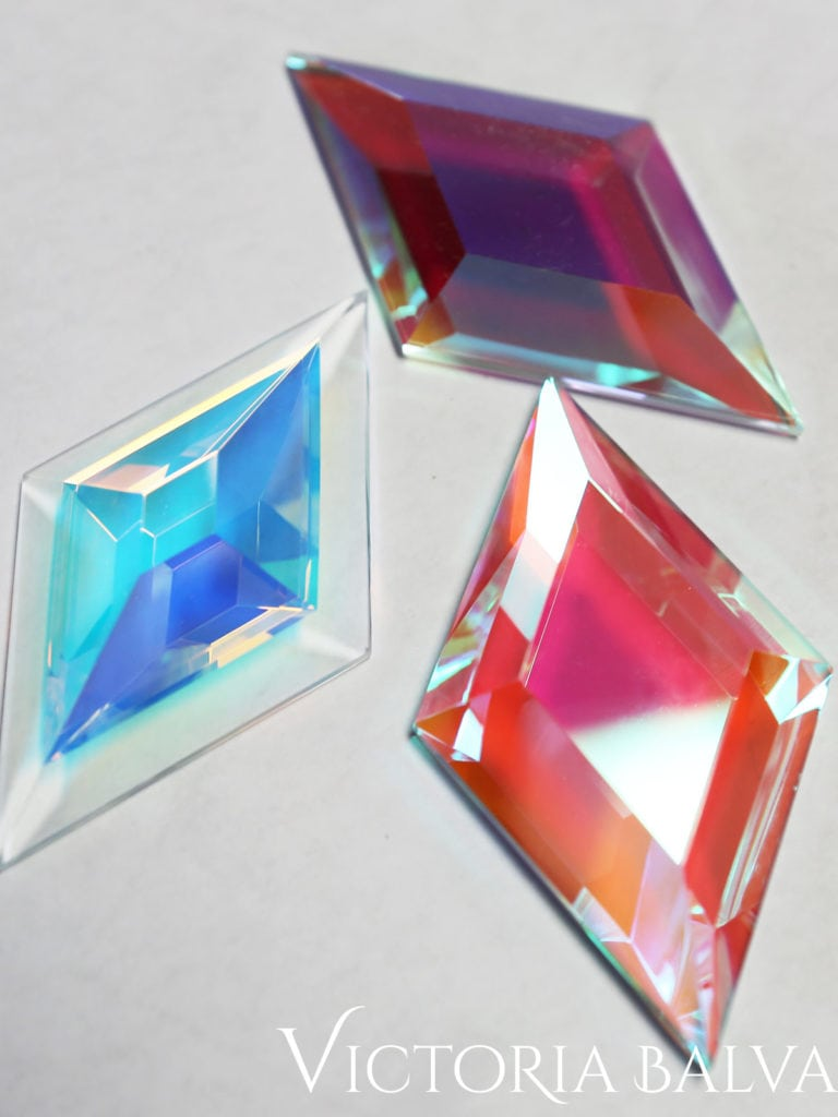 Coloured dichroic cold worked glass samples