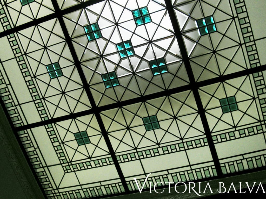 Architectural art glass decorative ceiling with accent jewels and custom hand bevelled glass