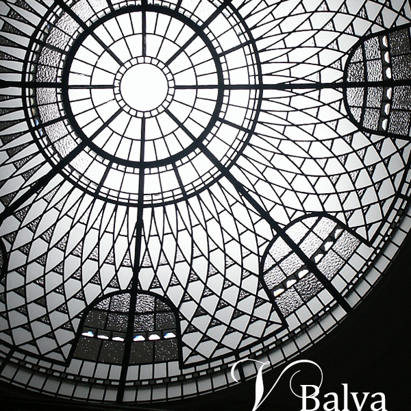 Leaded glass dome with jewels, textured glass, beveled glass