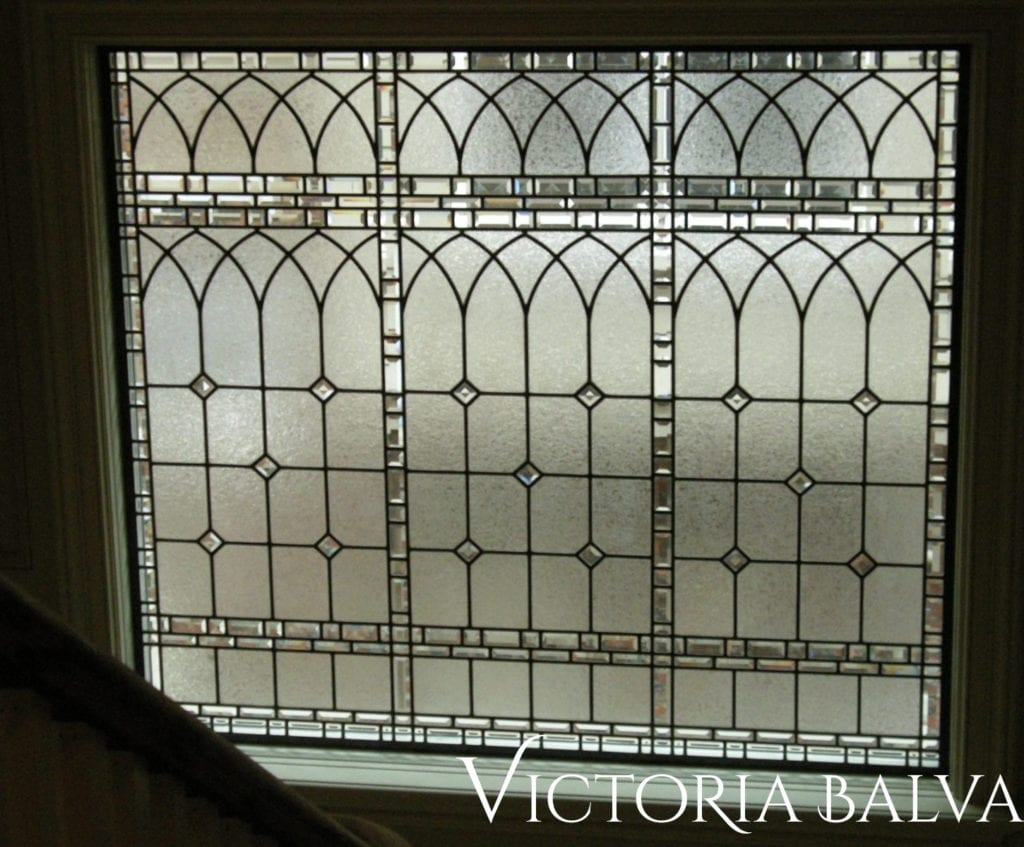 leaded glass landing window