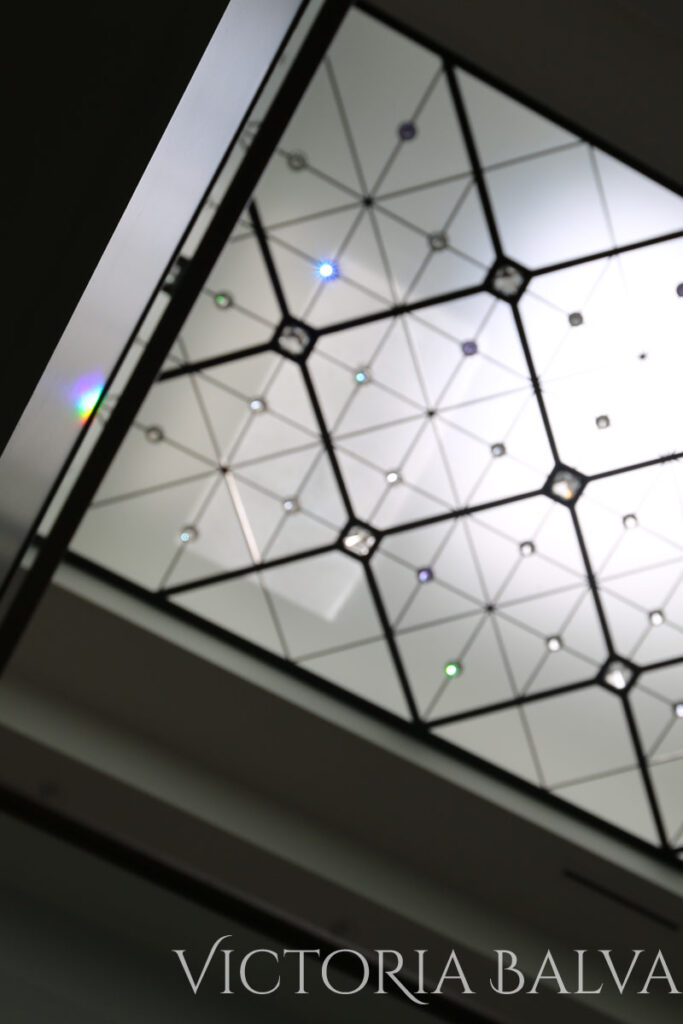 Clear glasscontemporary stained and leaded glass skylight with crystal jewels