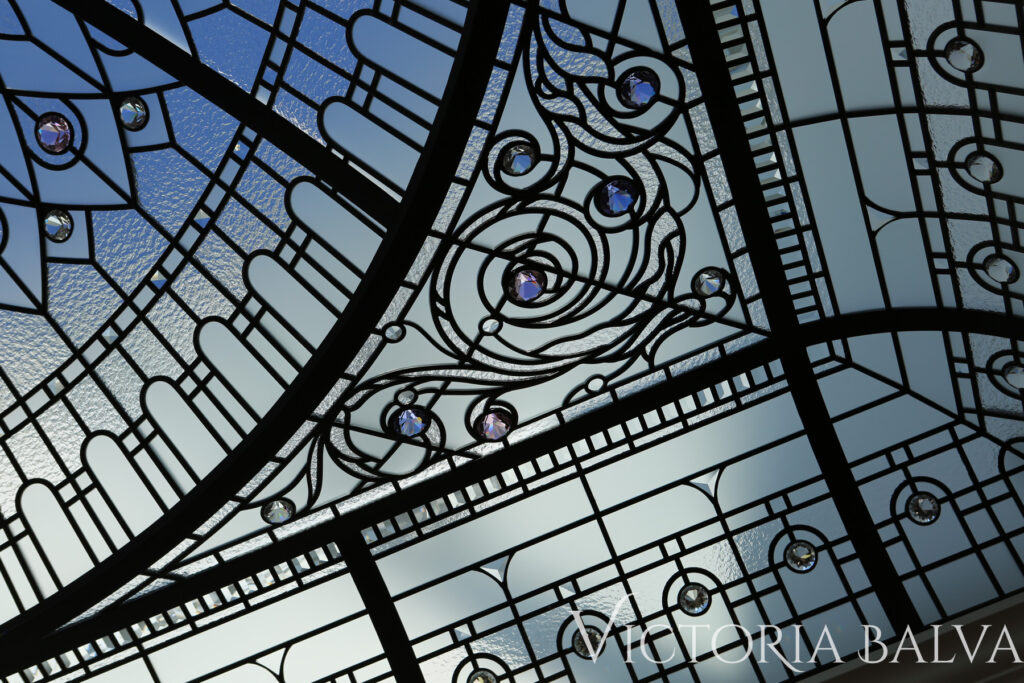 Tiffany Stained and leaded glass roof skylight design for a custom built home in Wayzata