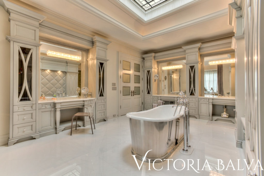 Gorgeous modern master bathroom suite with stained and leaded glass dome skylight for the custom built house in Toronto