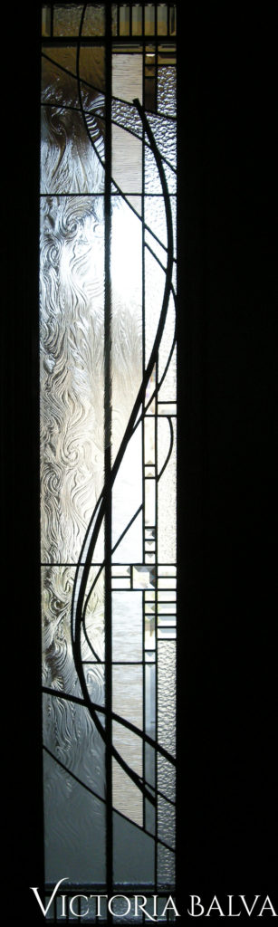 Modern art abstract leaded glass sidelights with architectural clear glass, bevelled glass and stained glass gewels