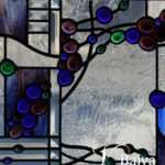Contemporary abstract art glass panel with bevelled glass and blue nuggets