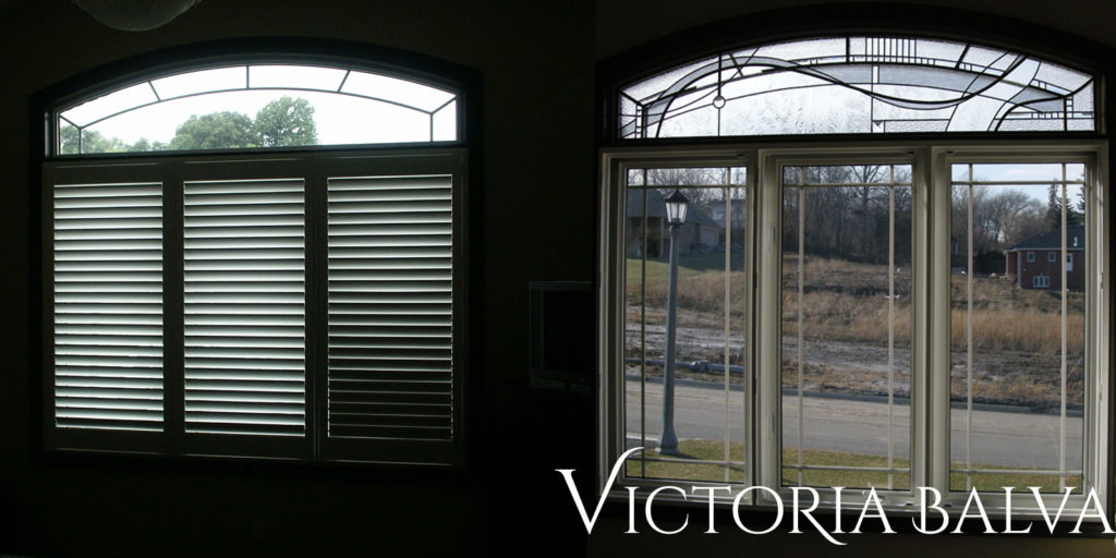 Bedroom window with modern stained and leaded glass transom before and after installation