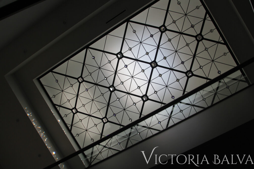 Contemporary stained and leaded glass ceiling for modern custom built home in Toronto