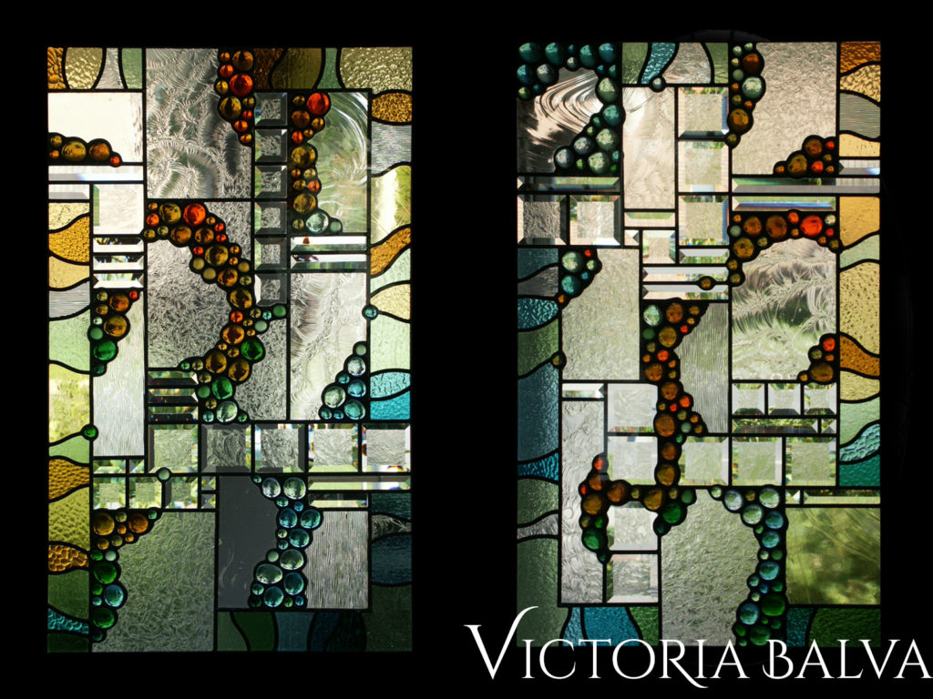 Modern design stained and leaded glass double door inserts with clear glue chip bevelled glass and glass globes