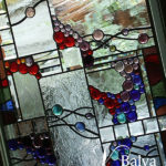 Contemporary stained and leaded glass window hangings