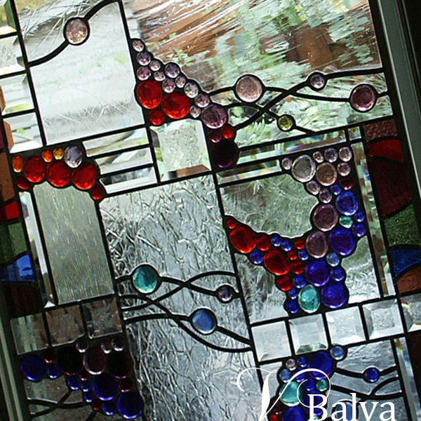 In Pam's Garden- stained and leaded glass commission work