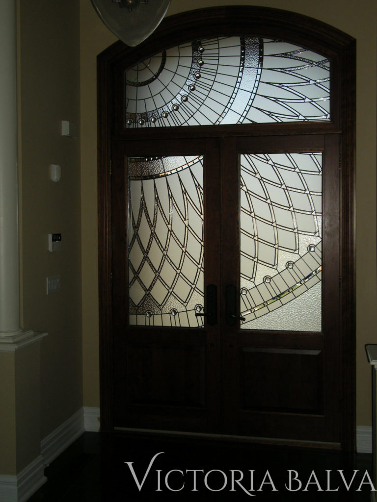 Front entrance door with modern leaded glass windows inserts