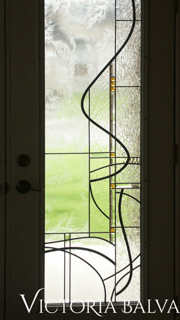Entrance door light inserts in modern simple stained glass design