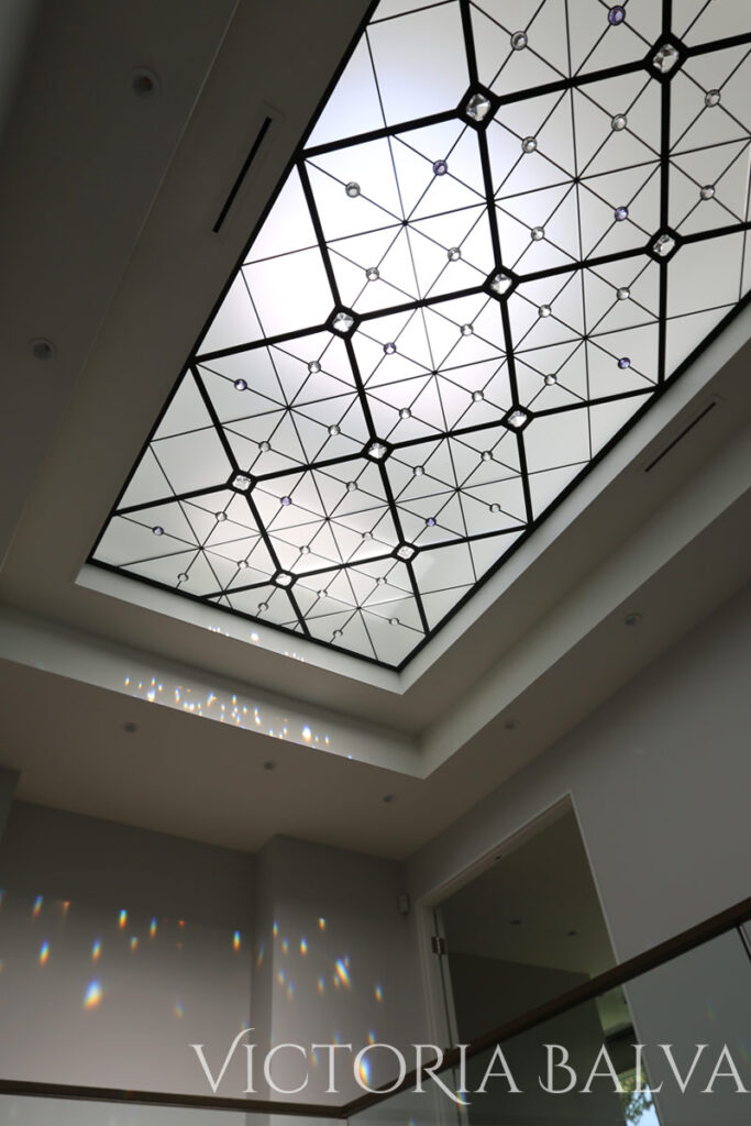 Contemporary stained and leaded glass skylight in modern style for a custom built home in Toronto