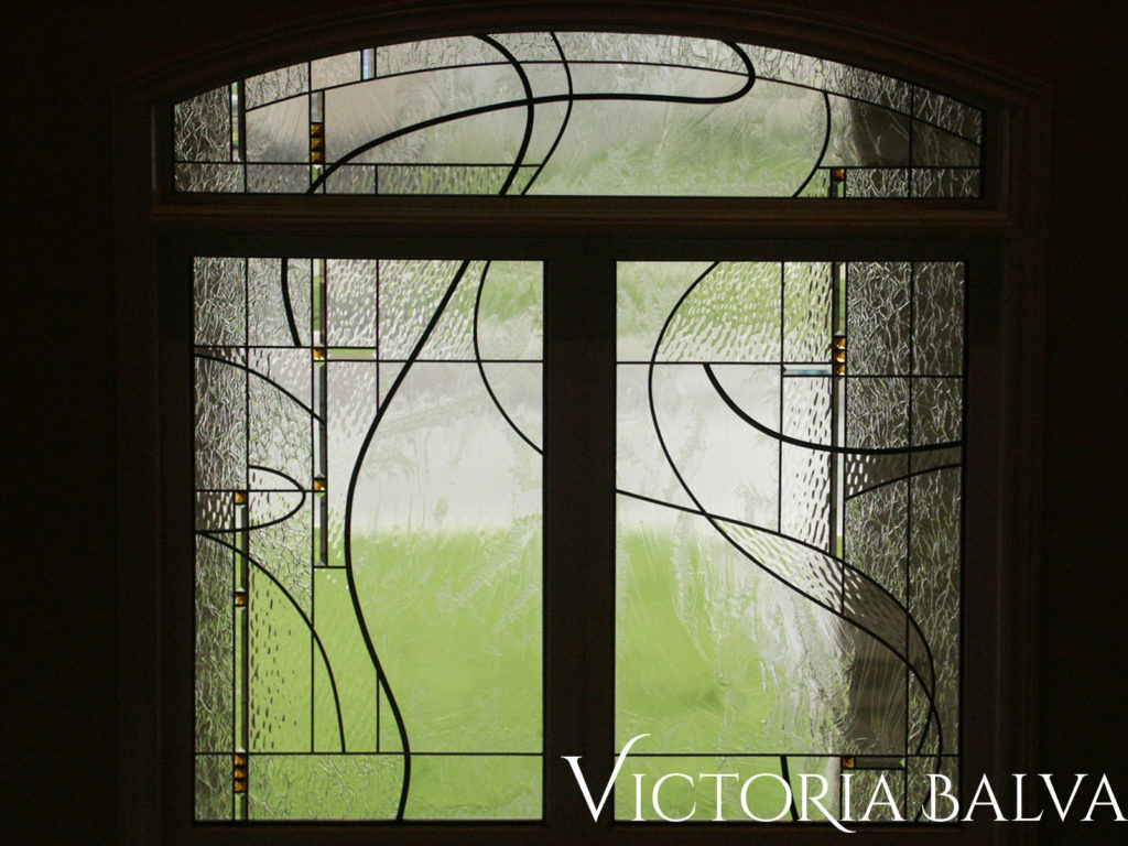 Contemporary simple stained glass window transom