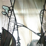modern stained and leaded glass wall divider