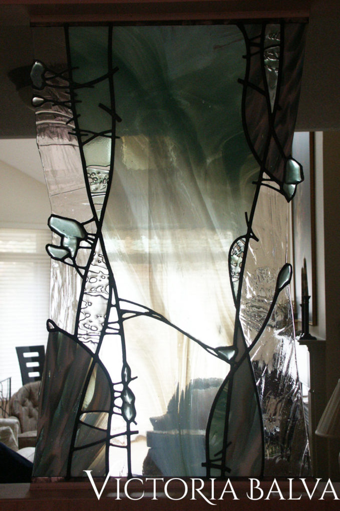 Contemporary modern abstract stained glass wall dividers
