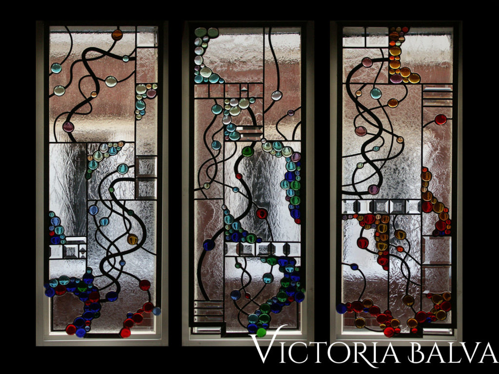 Modern stained glass design window hangings for a dining room