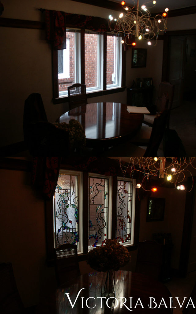 Dining room with modern design stained and leaded glass panels before and after
