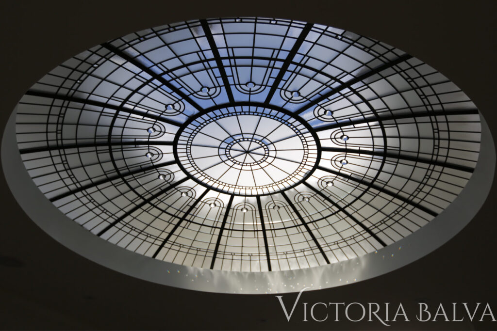 Modern stained and leaded glass dome with acid etched glass and crystal clear glass jewels in Los Angeles