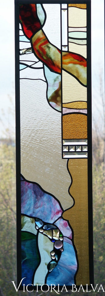 red, amber and blue youghiogheny glass in modern abstract stained and leaded glass panel