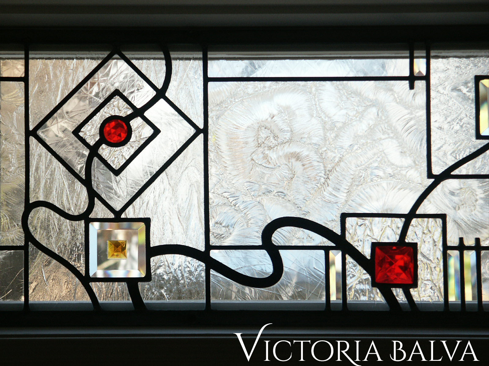 Stained and leaded glass transom windows for the family room