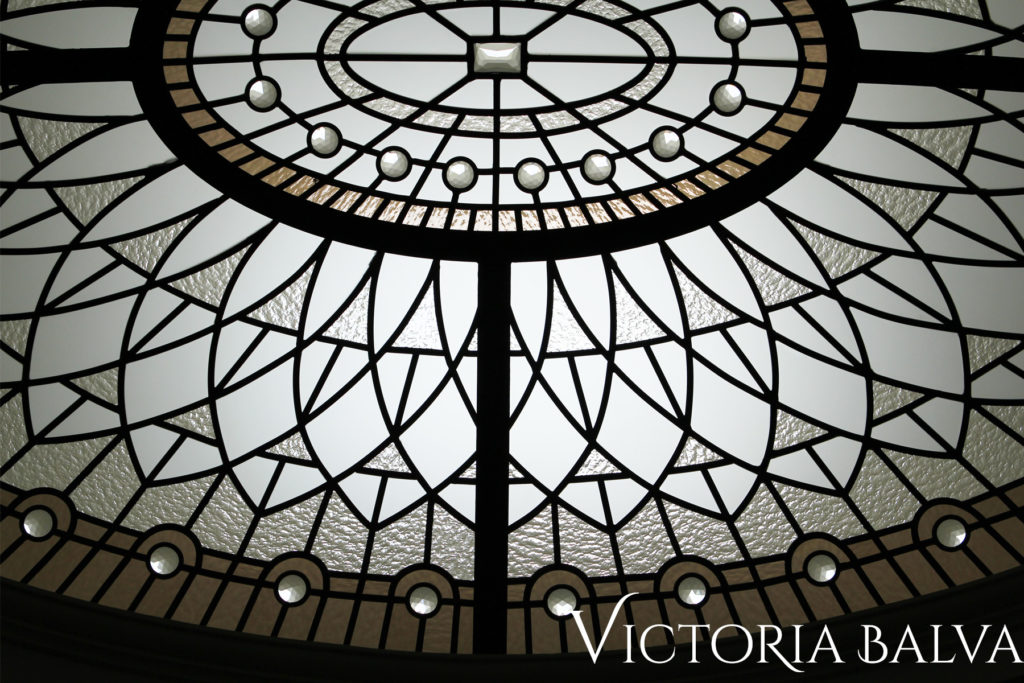 Leaded glass ceiling detail with oval glass dome