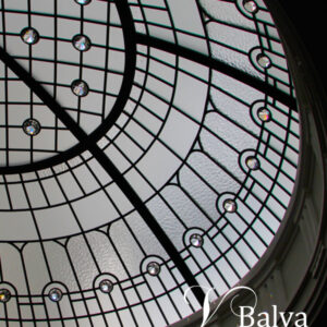 Oval stained and leaded glass dome llipse
