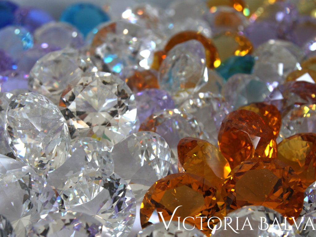 Clear , lilac and amber crystal jewels